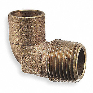 "Lead Free Cast DZR Brass Elbow, 90°, C x MNPT Connection Type, 1-1/2"" Tube Size"