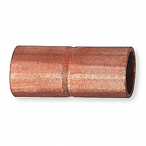 "Wrot Copper Coupling, Rolled Tube Stop, C x C Connection Type, 1/2"" Tube Size"