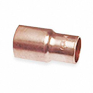 "Wrot Copper Reducer, FTG x C Connection Type, 1/2"" x 1/4"" Tube Size"