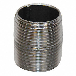 "1/2"" Black Steel Close Pipe Nipple, Close Length, Threaded at Both Ends, Welded, Schedule 40"