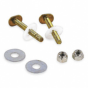 Brass Toilet to Floor or Toilet Flange Bolt Set, Brass, For Use With Most Toilets