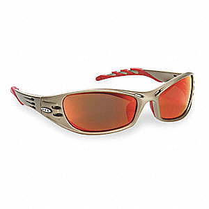Fuel  Scratch-Resistant Safety Glasses, Red Mirror Lens Color