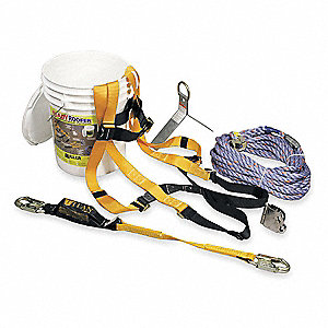Yellow, Universal Size Roofers Harness Kit, 310 lb. Weight Capacity, Mating Leg Strap Buckles