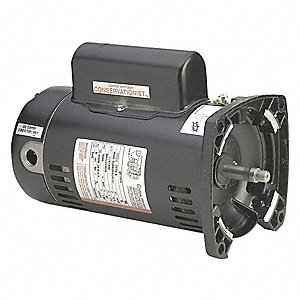 1 HP Square Flange Pool Pump Motor, Capacitor-Start/Run, 3450 Nameplate RPM, 115/230 Voltage, 48Y Fr