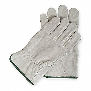 Cowhide Drivers Gloves, Shirred Wrist Cuff, Gray, Size: XL, Left and Right Hand