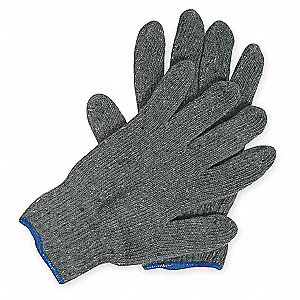 Gray Knit Gloves, Polyester/Cotton, Size L, 7 Gauge