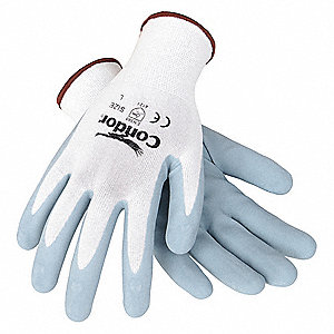 Nitrile Coated Gloves, Gray/White