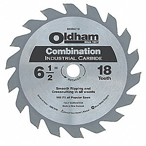 "6-1/2"" Carbide Combination Circular Saw Blade, Number of Teeth: 18"
