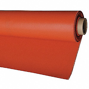 "Silicone Coated Fiberglass Welding Blanket Roll, 3 ft. 3"" H x 75 ft.W x 0.032"" Thick, Red"