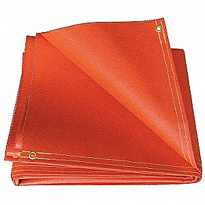 Silicone Coated Fiberglass Welding Curtain, Height: 6 ft., Width: 6 ft., Orange