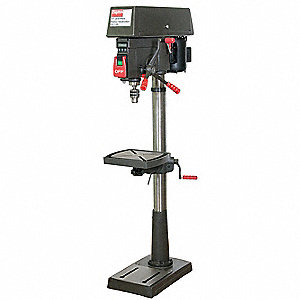 "1 Motor HP Floor Drill Press, Belt Drive Type, 17"" Swing, 120/240 Voltage"