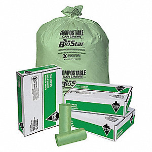 60 gal. Green Tint Compostable Can Liner, Extra Heavy Strength Rating, Coreless Roll, 100 PK