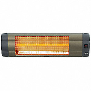 Electric Mid Wave Infrared Heater, Indoor/Outdoor, Wall/Ceiling/Stand Mount, Voltage 110, Watts 1500