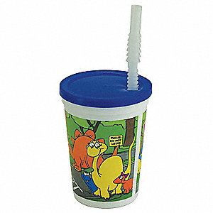 12 oz. Disposable Cup, Polystyrene Plastic, Blue/White, PK 250