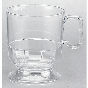 8 oz. Disposable Hot Cup, Polystyrene Plastic, Clear, PK 240
