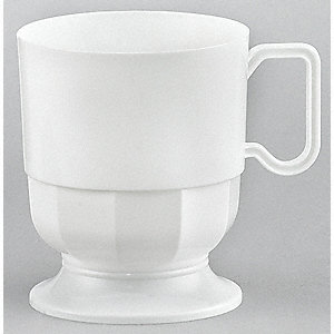 8 oz. Disposable Hot Cup, Polystyrene Plastic, White, PK 240