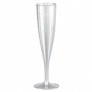 5 oz. Champagne Glass, Polystyrene Plastic, Clear, PK 120