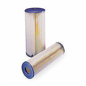 Pleated Filter Cartridge, 20 Microns, Polyester Filter Media, 30 gpm Flow Rate