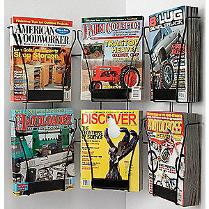 Magazine Wall Display,6 Compart,Blk