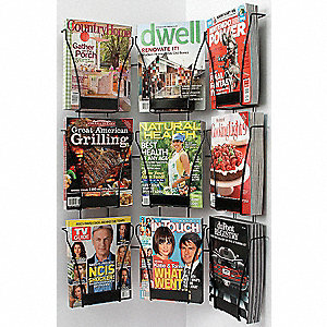 Magazine Wall Display,9 Compart,Blk