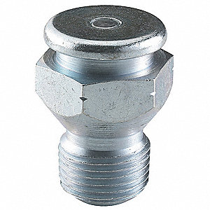 "1/8""-27-PTF Straight Head Angle, Button Head Grease Fitting, Zinc-Plated Steel, 49/64""L, 8000 psi, P"