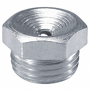 "1/4""-28-UNF Straight Head Angle, Flush Grease Fitting, Zinc-Plated Steel, 13/32""L, 8000 psi, PK10"