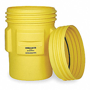 95 gal. Yellow Polyethylene Open Head Overpack Drum
