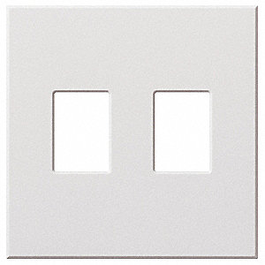 Dimmer/Switch Wall Plate, White, Number of Gangs: 2, Weather Resistant: No