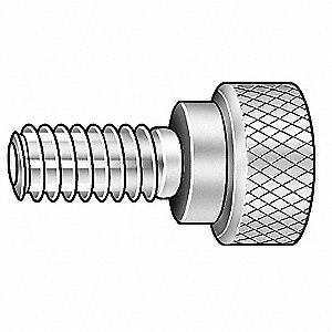 Thumb Screw, Knurled, 8-32x3/8 L, Stl