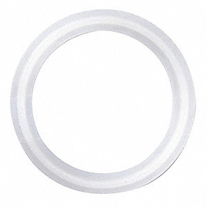 "Tri-Clamp Gasket, 2.374"" Inside Dia., 3.050"" Outside Dia., PTFE, 2-1/2"" Tube Size"