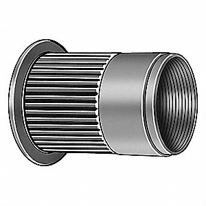 "Aluminum Knurled Flanged Rivet Nut 0.594"" L, #10-24 Dia./Thread Size, 50 PK"