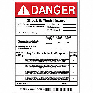 Arc Flash Protection Label,7 In. H,PK5