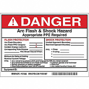 Arc Flash Protection Label,5 In. H,PK5