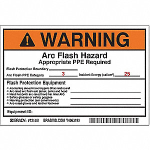 Arc Flash Protection Label,4 In. H,PK5