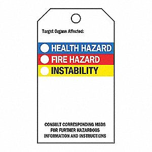 Target Organs Affected (NFPA Diamond) Accident Prevention Tag, 25 PK