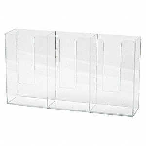 "Horizontal Glove Dispenser, Clear, Acrylic, Holds: (3) Boxes, 20"" Width"