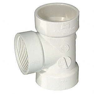 "PVC Flush Clean Out Tee, FNPT x Hub x Hub, 1-1/2"" Pipe Size - Pipe Fitting"