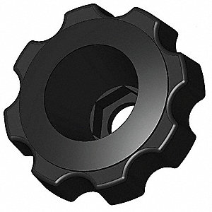 Snap Lock Fluted Knob,2-3/8,Thru,1/2