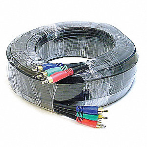 100 ft. Component, RG-59/U RCA Video Cable, Black; For Use With Video Equipment