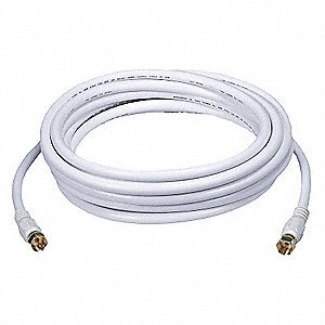 15 ft. RG-6 Coaxial Cable, White&#x3b; For Use With Video Equipment