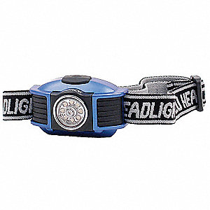 LED Headlamp, Plastic, 50,000 hr. Lamp Life, Maximum Lumens Output: 42, Blue
