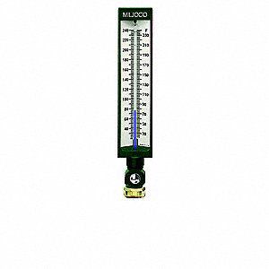 Industrial Glass Thermometer,Green