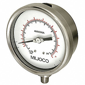 "2-1/2"" Ammonia Refrigerant Compound Gauge, 30 to 0 to 300 In. Hg/psi"