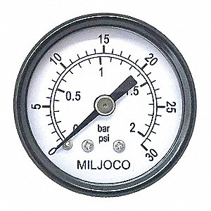 "Pressure Gauge, Test Gauge Type, 0 to 100 psi Range, 1-1/2"" Dial Size"