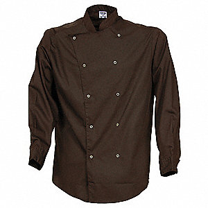 Long Sleeve Unisex Bistro Shirt with Standing Collar Collar, Black, XS