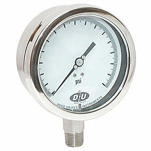 "Pressure Gauge, Test Gauge Type, 0 to 1000 psi Range, 4-1/2"" Dial Size"