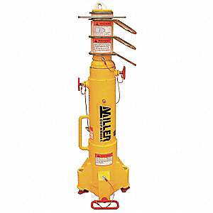 "Yellow Portable Fall Arrest Post, Zinc Plated Steel/Powder Coated Aluminum Finish, 54-1/2"" Height"
