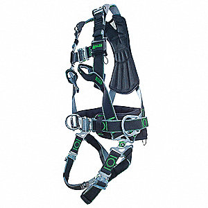 L/XL Wind Energy Full Body Harness, 5000 lb. Tensile Strength, 400 lb. Weight Capacity, Black