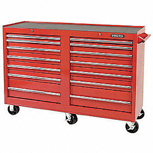 "Red Rolling Cabinet, Series 440, Standard Duty, Width: 54"", Depth: 18"", Height: 42"""