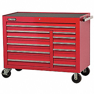 "Red Rolling Cabinet, Series 450, Heavy Duty, Width: 50-1/2"", Depth: 25"", Height: 41"""